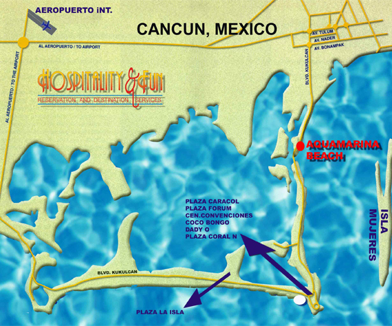 Aquamarina Beach Hotel Map, Aquamarina Beach Hotel, Cancun Hotels on