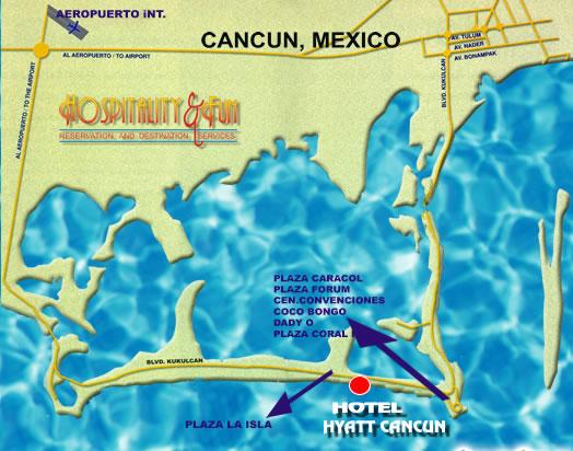 Hyatt Cancun Caribe Resort Map Hyatt Cancun Caribe Resort Cancun - Cancun hotel zone map