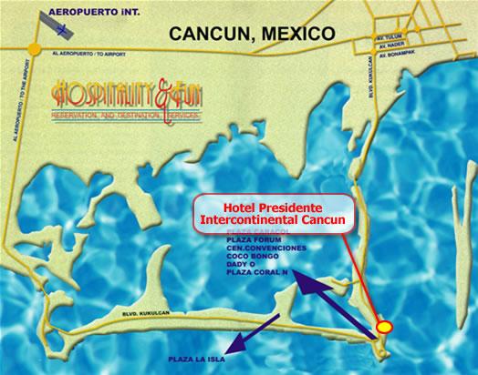 Cancun Resort Map on